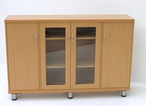 Side board with solid and glass door cupboards