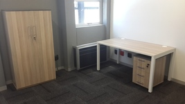 Beam Desk, mobile pedestal and cupboard